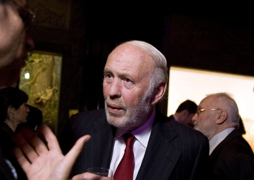 James Simons, Renaissance Technologies Corp, chairman and president, speaks during a reception at the American Museum of Natural History in New York