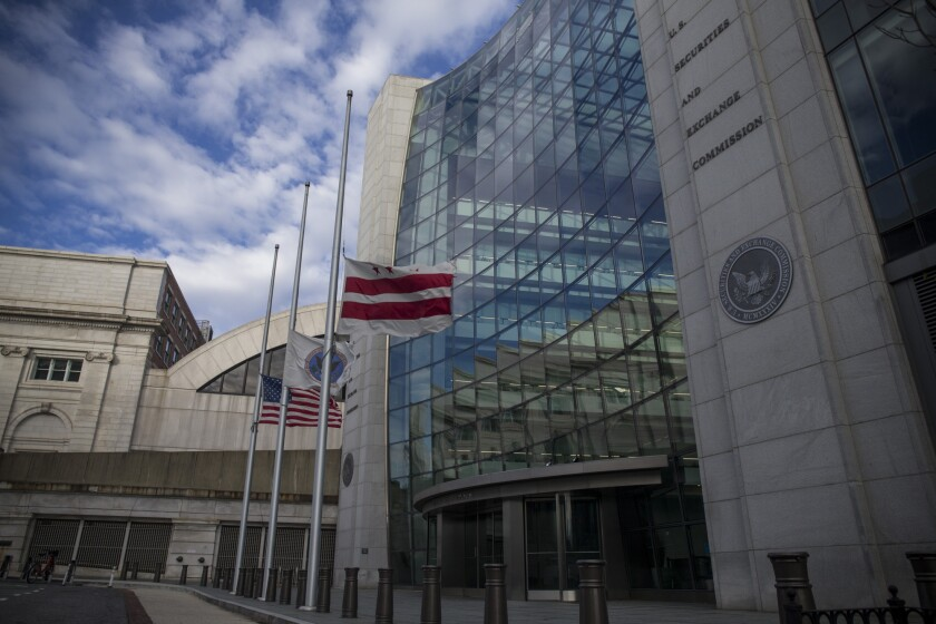 The headquarters building of the U.S. Securities and Exchange Commission (SEC) stands in Washington, D.C., U.S., on Dec. 22, 2018. Parts of the U.S. government shut down on Saturday for the third time this year after a bipartisan spending deal collapsed over President Donald Trump's demands for more money to build a wall along the U.S.-Mexico border. Photographer: Zach Gibson/Bloomberg
