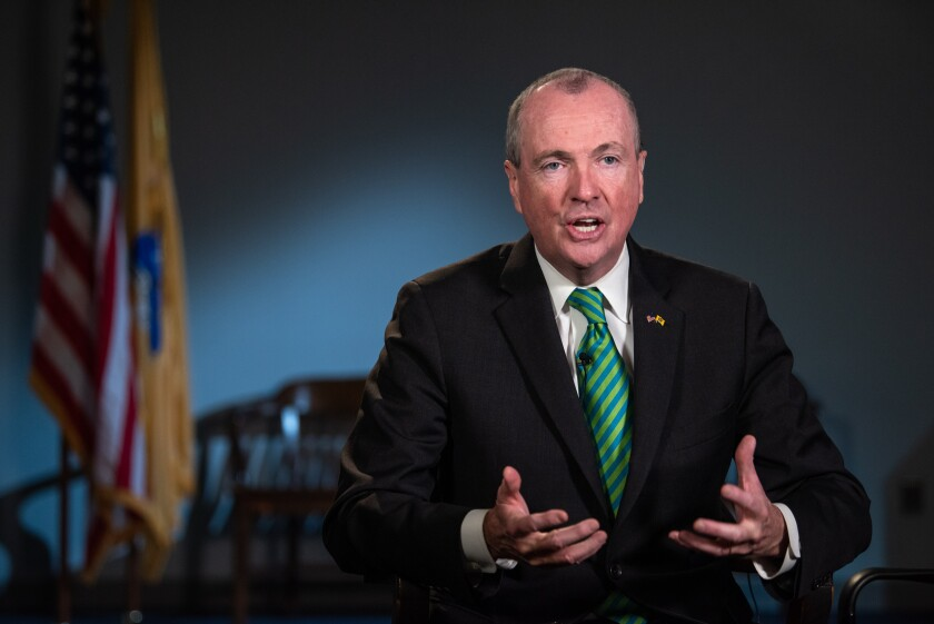 Phil Murphy, Governor of New Jersey, speaks during a Bloomberg Television interview in Newark, New Jersey, U.S., on Friday, March 8, 2019. Murphy discussed the state's proposed fiscal budget, his meeting with bond rating agencies, and recent talks with Amazon.com Inc. Photographer: Ron Antonelli/Bloomberg