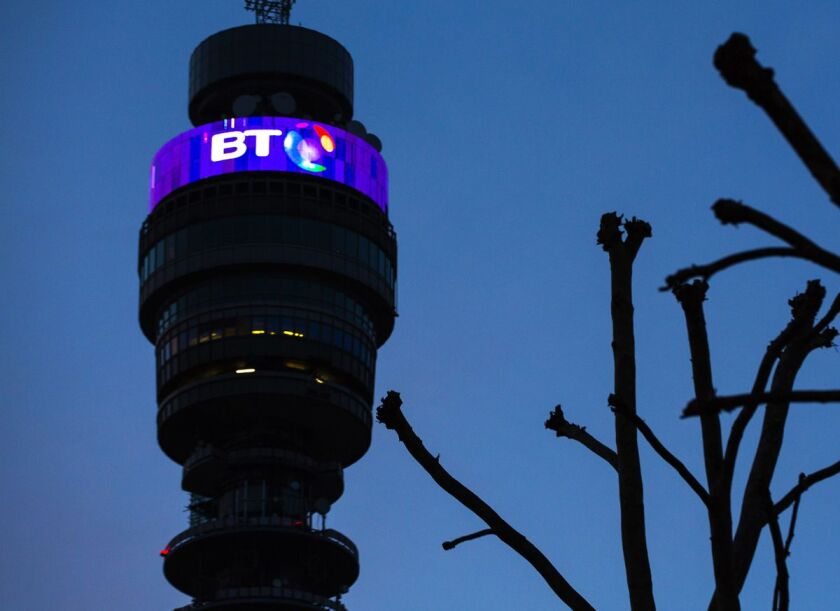 Tower above BT headquarters in London