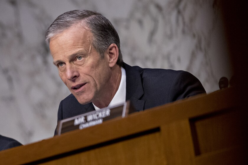 Senator John Thune, a Republican from South Dakota, at a Senate hearing in Washington, D., on Wednesday, March 27, 2019.