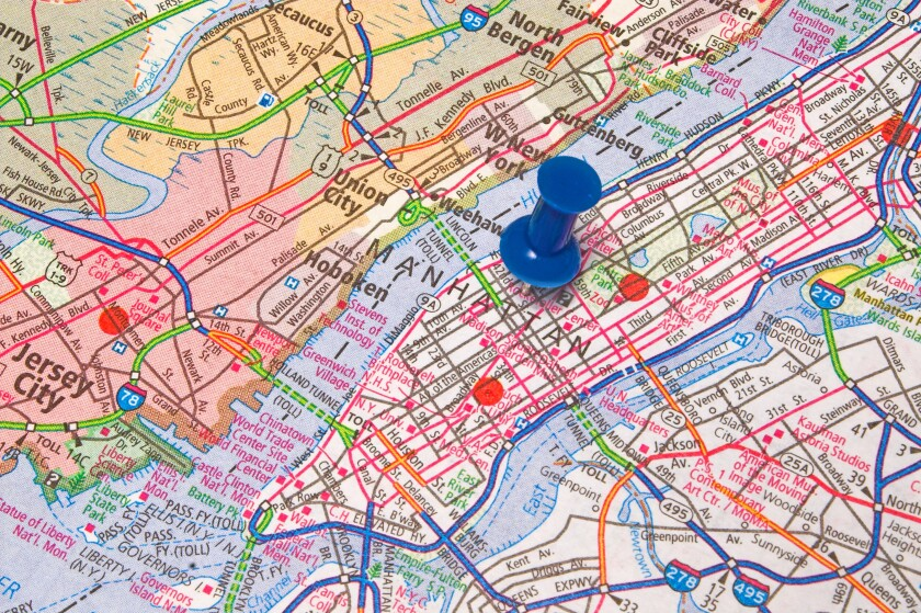 New York City map with pushpin