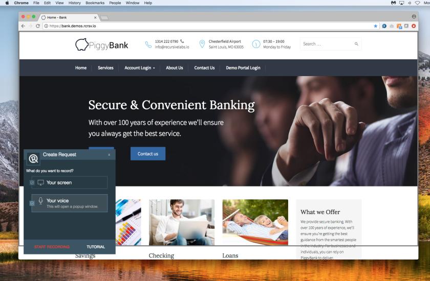 Screenshot of Recursive Labs video request platform