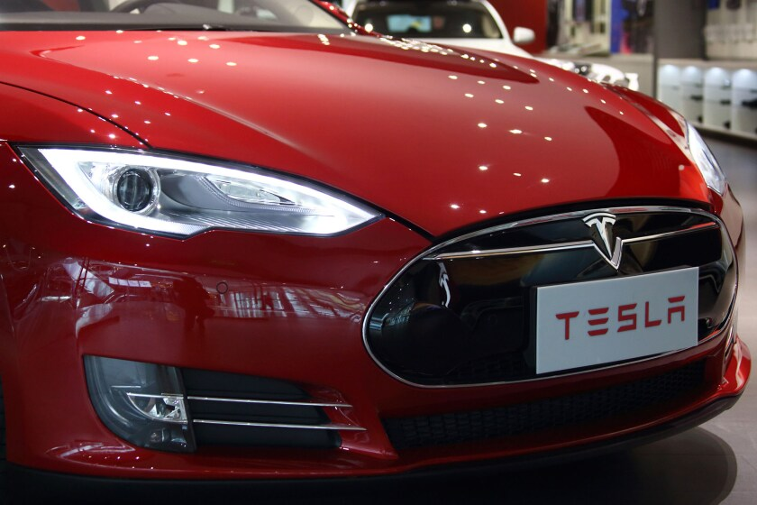A Tesla Motors Inc. Model S electric vehicle on display at the company's showroom in Beijing, China