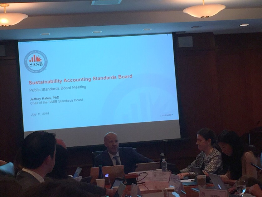 SASB Standards Board chair Jeffrey Hales leads its meeting at Fordham University in New York
