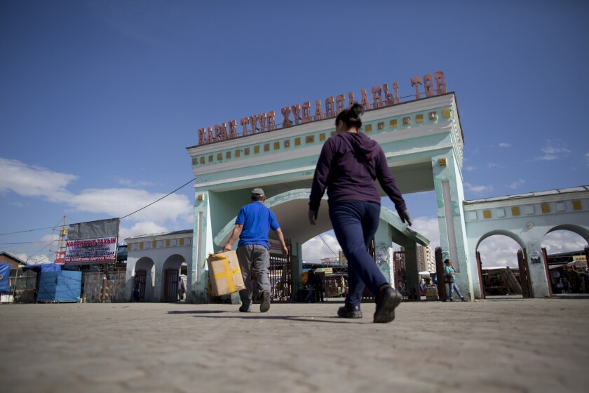The entrance of the Narantuul market in Ulaanbaatar, Mongolia