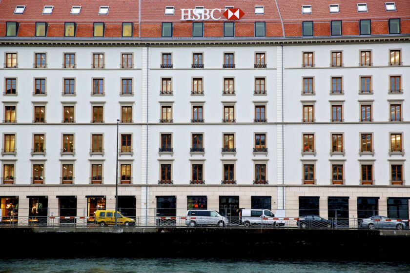 The building that houses HSBC Holdings Plc's private banking unit in Geneva, Switzerland