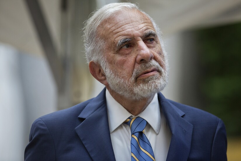 Billionaire activist investor Carl Icahn attends the Leveraged Finance Fights Melanoma charity event in New York.