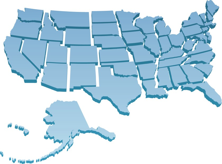 US map showing separate states