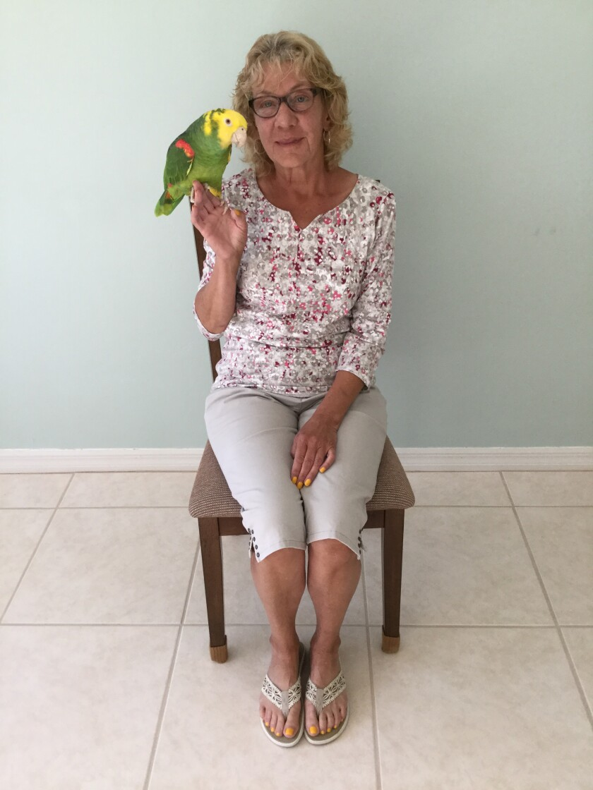 Diane Lucas, 64, plans to include her 25-year-old parrot, Greenbean, in her will to ensure that her longtime pet will be well cared for when Lucas passes. Greenbean can live to 80 and is likely to survive Lucas.