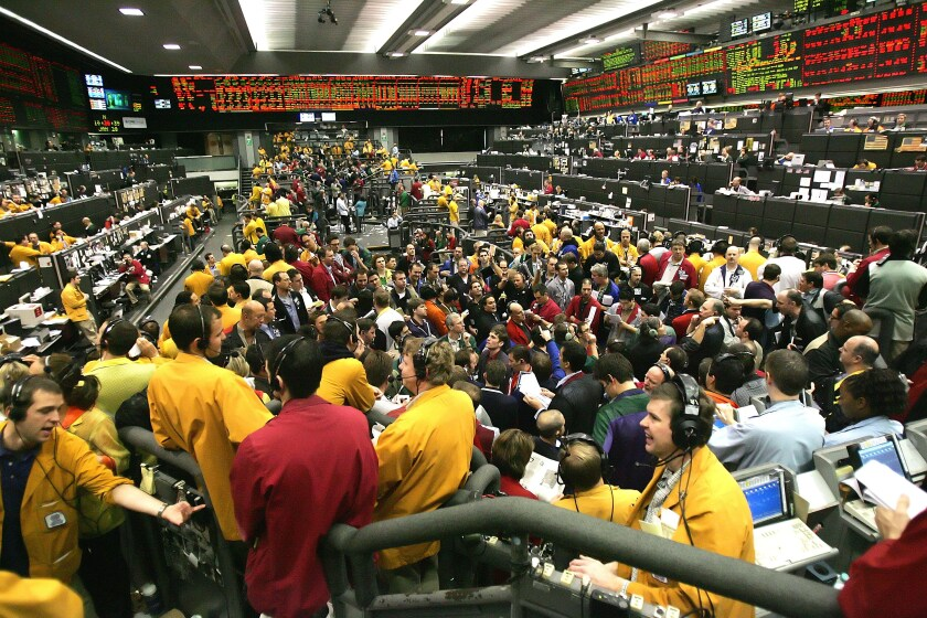 Traders work on the Eurodollars Options floor at the Chicago Mercantile Exchange.