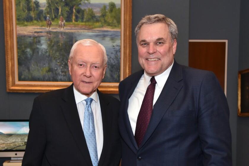 "Senate Finance Committee Chairman Orrin Hatch, R-Utah (left), with IRS Commissioner Nominee Charles ""Chuck"" Rettig"