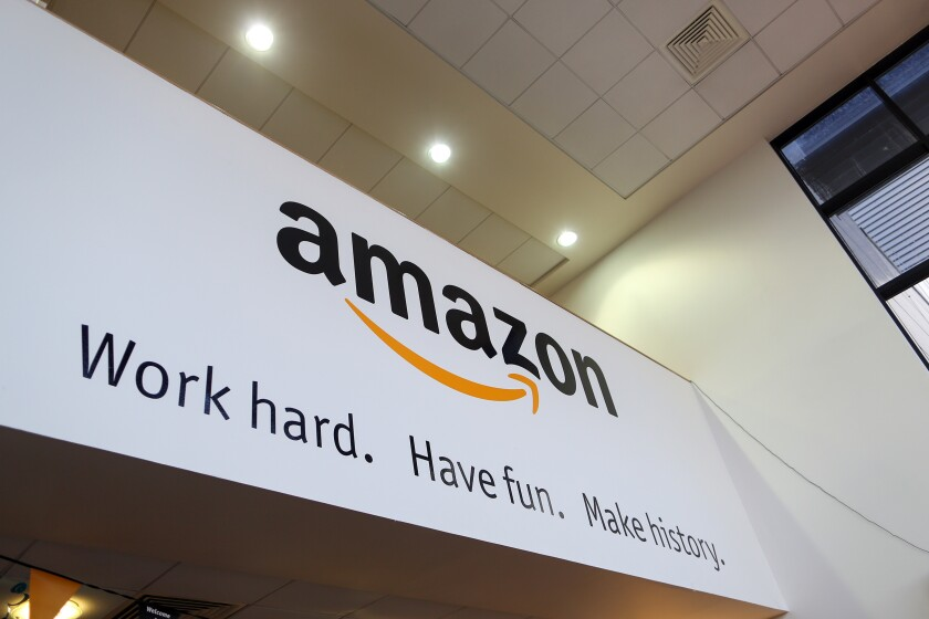 Sign at Amazon.com fulfillment center in Hemel Hempstead, U.K.