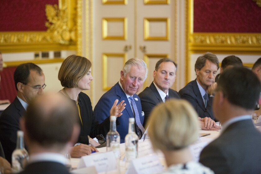 HRH The Prince of Wales hosts a meeting of his A4S, Accountability for Sustainability forum, part of the Prince of Wales's Charities, at St. James's Palace. A4S executive chairman Jessica Fries is sitting to his right.