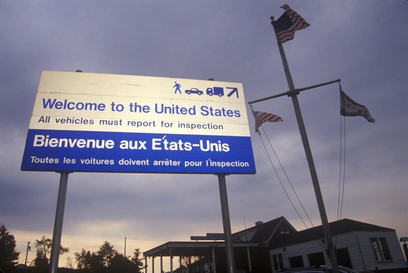 U.S. border sign with French