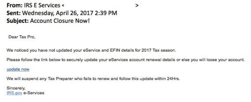 IRS phishing email
