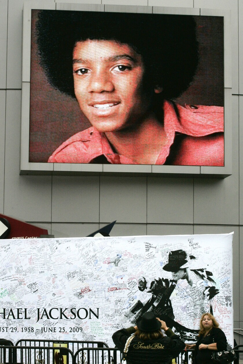 Michael Jackson memorial at the Staples Center in Los Angeles in July 2009