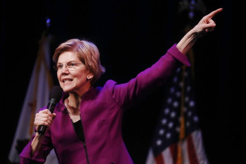 U.S. Senator and Democratic presidential candidate Elizabeth Warren, D-Mass., speaks at an organizing event.
