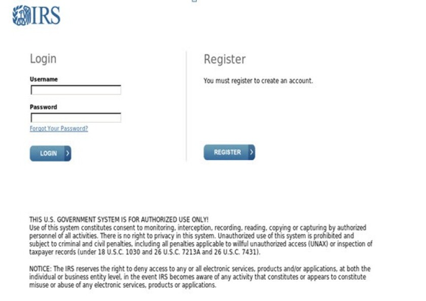 IRS fake login screen
