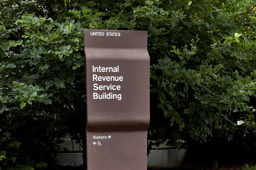 Sign in front of IRS building in Washington, D.C.