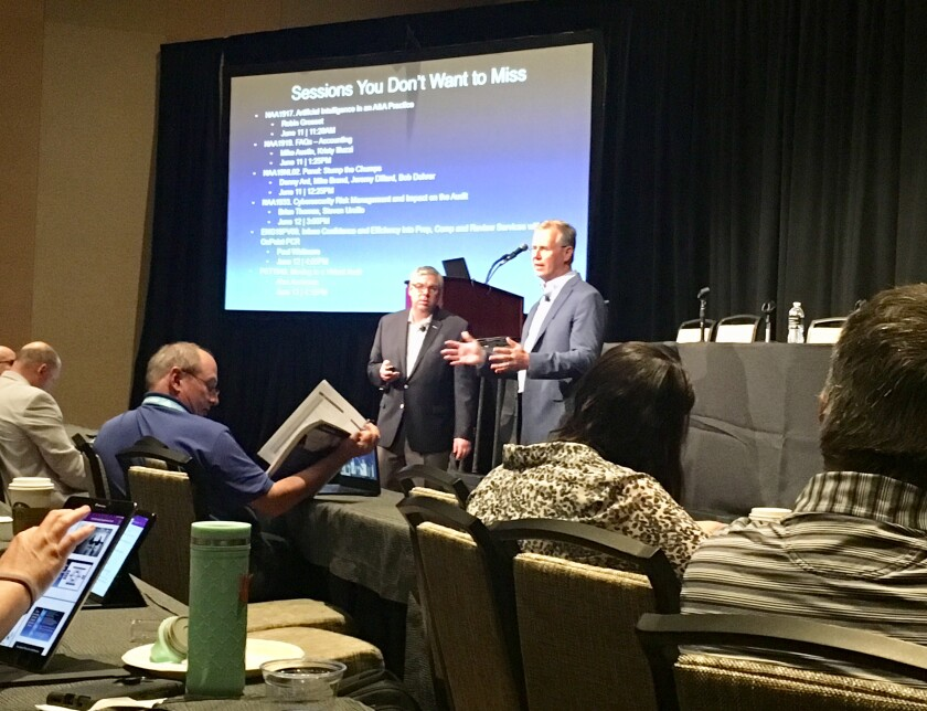 Erik Asgeirsson of CPA.com and Mark Koziel of the AICPA at a session at the 2019 Engage conference