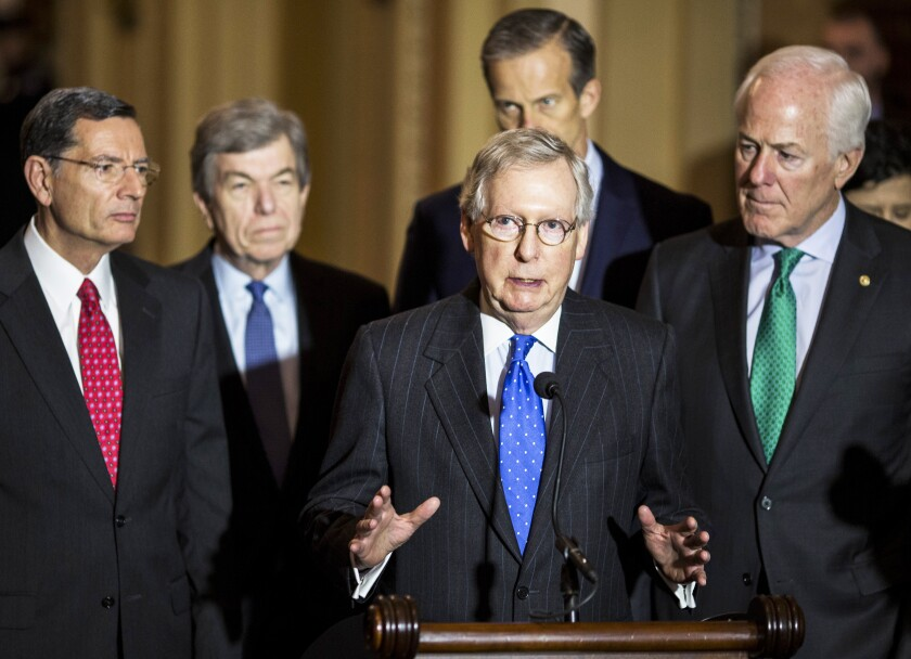 Senate Majority Leader Mitch McConnell and Republican leaders at a press conference Tuesday afternoon before the Senate took up its final debate on the tax reform bill.