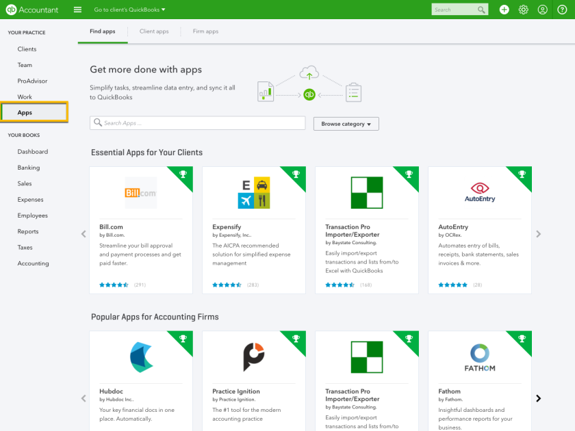 Intuit's QuickBooks Online Accountant now has an apps tab