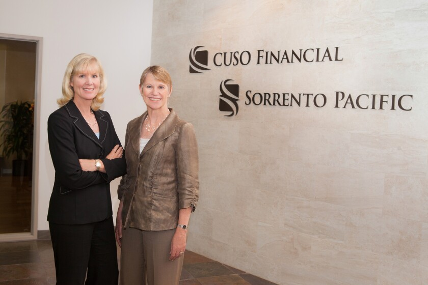 Valorie Seyfert (left) and Amy Beattie, co-founders of CUSO Financial and Sorrento Pacific, will maintain an equity interest in Atria Wealth Solutions.