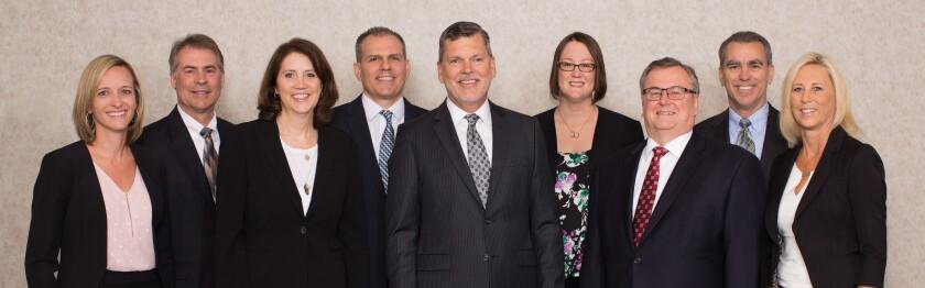DunlapSLK shareholders (left to right):  Natasha Alderfer, Randal Rush, Julia Davis, Brent Kolb, Dennis Dunlap, Tracy Kelso, Lon Seitz, Rob Fairbaugh and Lisa Leatherman