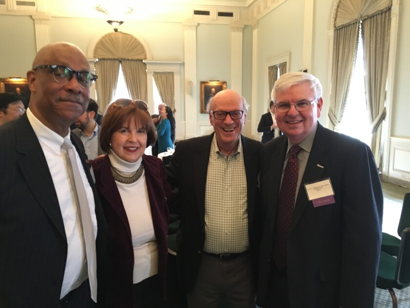 Left to right: J. Michael Kirkland and Kelly Welles of the Accountants Club of America, Ed Mendlowitz of Withum, and Barry Melancon of the AICPA
