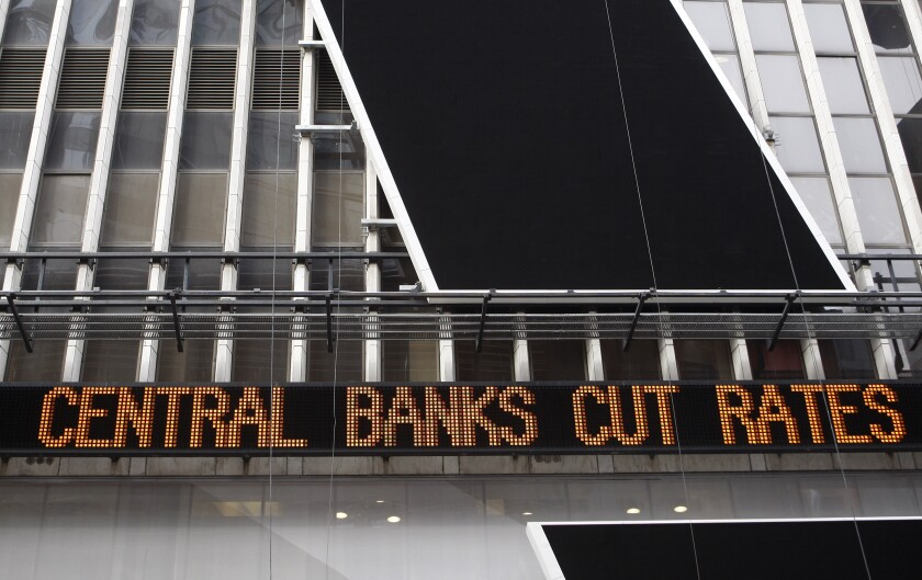 2008 financial crisis times square ticker central banks cut rates