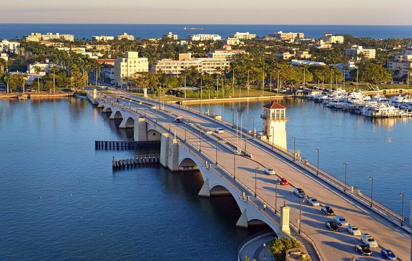 The Royal Palm Bridge connects West Palm Beach to Palm Beach, Florida.