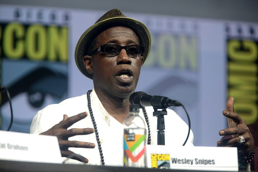 """Wesley Snipes speaking at the 2018 San Diego Comic Con International, for """"Cut Throat City"""", at the San Diego Convention Center in San Diego, California."""