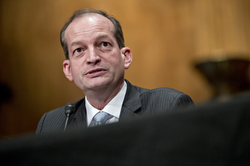 Alexander Acosta, secretary of labor nominee for President Trump, speaks during confirmation hearing Bloomberg News