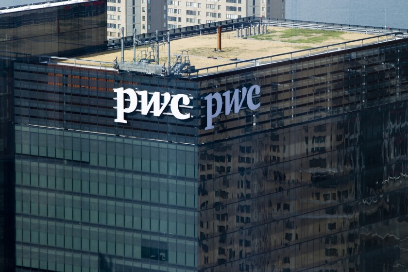 PricewaterhouseCoopers LLP's building stands in the financial district of Toronto, Ontario, Canada