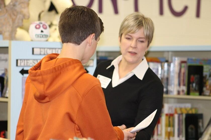 GSCPA volunteer Eileen Scherberger at Crabapple Middle School on Nov. 17.