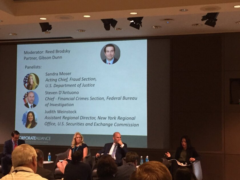Panelists at the ACFE Fraud Risk Management Summit (from left): moderator Reed Brodsky of Gibson Dunn, Sandra Moser of the DOJ, Steven D'Antuono of the FBI, and Judith Weinstock of the SEC