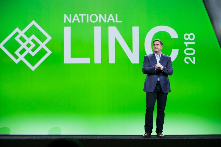 TD Ameritrade Institutional President Tom Nally, speaking on stage at National LINC 2018