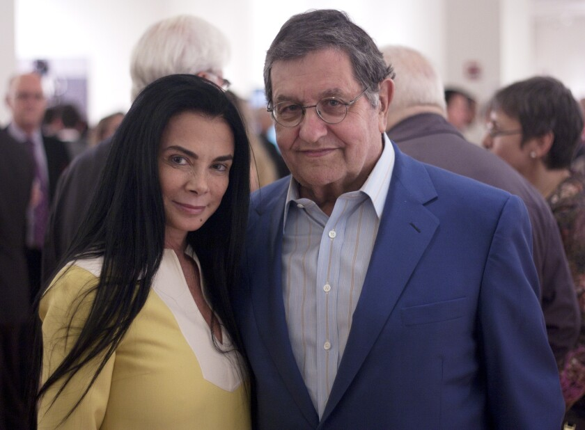 Mary Boone alongside Miami-based art collector Marty Margulies at Sotheby's in New York in 2012
