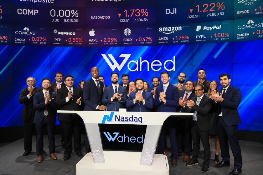 Wahed Team and Partners during the Nasdaq Opening Bell Ringing Ceremony on Aug 14, 2019, Times Square, NYC.