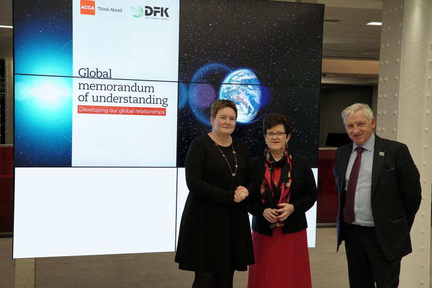 ACCA chief executive Helen Brand (left) with DFK vice president of EMEA Anne Brady and DFK International executive director Martin Sharp
