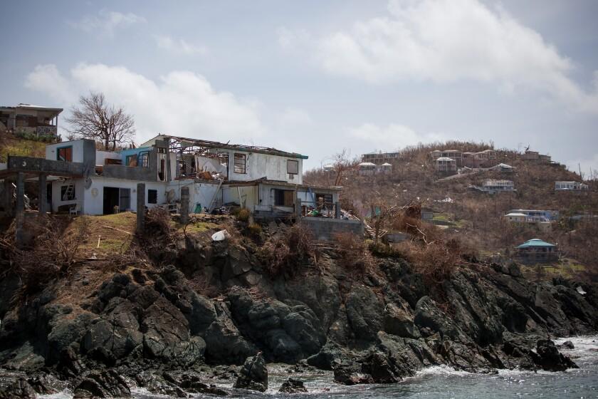 A damaged building is seen after Hurricane Irma hit St. John in the U.S. Virgin Islands.