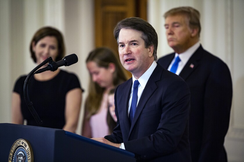 Supreme Court nominee Brett Kavananaugh with members of his family and Donald Trump at his nomination announcement