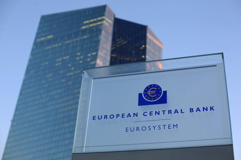 European Central Bank sign in Frankfurt, Germany
