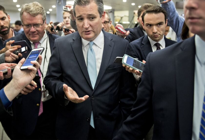Senator Ted Cruz, a Republican from Texas, speaks to members of the media in the basement of the U.S. Capitol.