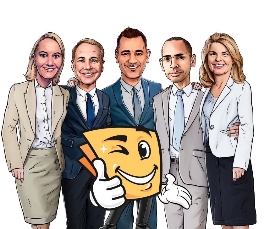 The Happy Tax executive team. From left to right: Dora Cuyler, VP of operations; Ted Muftic, CFO; Mario Costanz, CEO; Marcus Slater, VP of marketing; and Melissa Salyer, EVP of business development.
