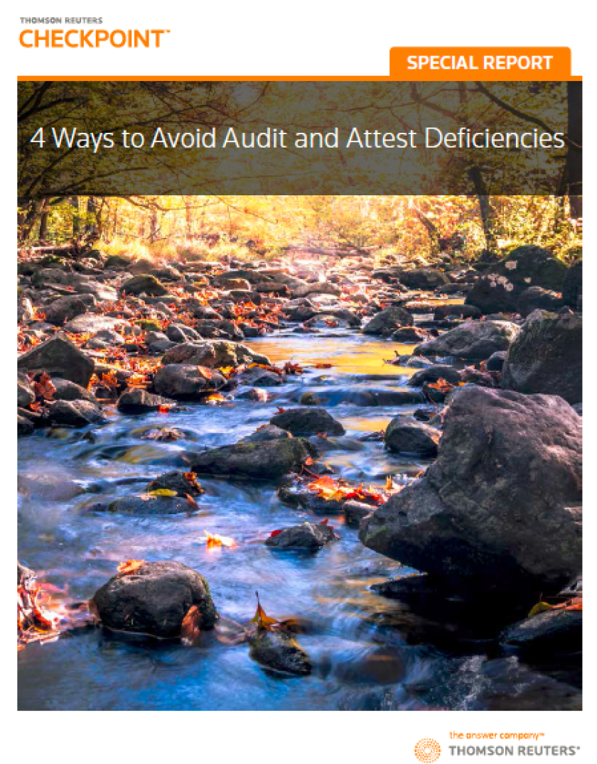 """Thomson Reuters' """"Four Ways to Avoid Audit and Attest Deficiencies."""""""