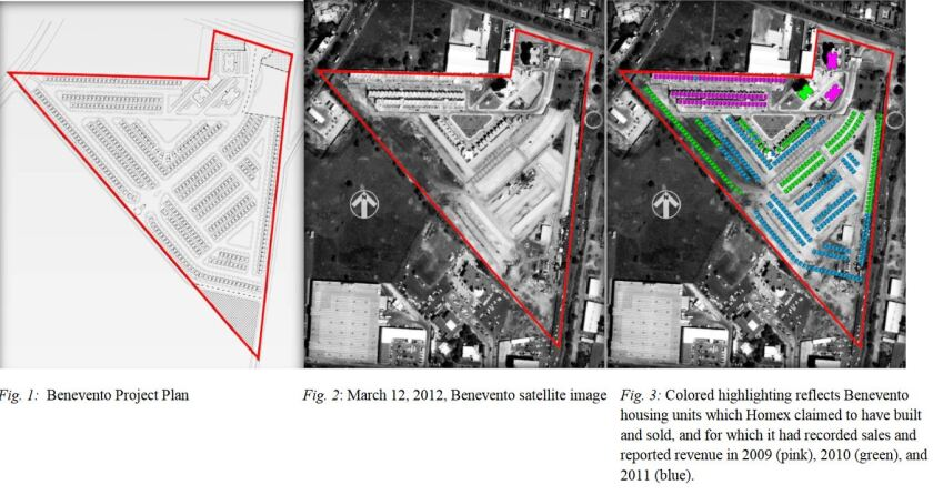Satellite images of Homex's Benevento real estate project in the Mexican state of Guanajuato, from the SEC's complaint