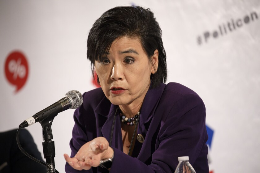 Rep. Judy Chu, a Democrat from California, speaks during the Politicon convention inside the Pasadena Convention Center.