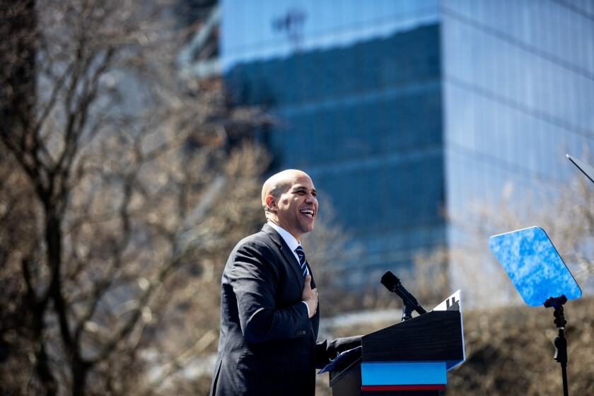 Senator Cory Booker, a Democrat from New Jersey and 2020 presidential candidate, gestures while speaking during the kickoff of his 'Justice for All' campaign tour in Newark, New Jersey.